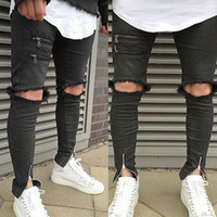 Wholesale Wholesale Capris Jeans - Wholesale- 2017 new fashion hole hollow out fake zippers Vintage Men's Straight Hole Slim Fit Jeans Black Distressed Ripped Skinny Pants