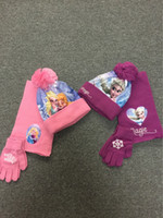 Wholesale Crochet Gloves For Baby - children girl winter three-piece warm accessories cartoon knitted gloves crochet hat cartoon princess scarf for baby girl wool finger gloves
