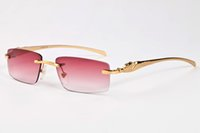 gläser da sonne großhandel-Marke Desinger Sonnenbrillen Randlose Mode vintage metall gold buffalo horn brille rahmen männer frauen sonnenbrille mit box occhiali da