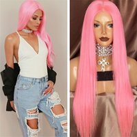 Wholesale Wig Dark Pink Long - Celebrity Human Hair Wig 24inch Baby Pink Brazilian Remy Hair Silky Straight Pink Lace Front Wig Free Shipping