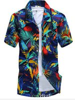Wholesale Loose Collar Shirts Wholesale - Wholesale- Brand Summer Hawaiian Men's Hawaii Beach Shirt, Men Short Sleeve Floral Loose Casual Shirts Plus Size L - 4XL#A7