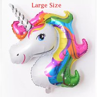 Wholesale Large Horse - Large 118 * 90cm Rainbow Unicorn Party Supplies Foil Balloons Kids Cartoon Animal Horse Float Globe Birthday Party Decoration