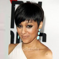 Wholesale Celebrity Human Hair - 2017 New Pixie Cut cheap Human Hair Wig Rihanna Black Short Cut Wigs For Black Women African American Celebrity Wigs