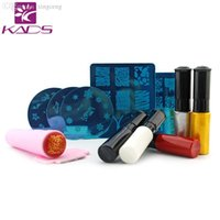 Wholesale Nail Art Polish Stamp Set - Wholesale- KADS NAIL STAMP PLATE SET Nail Art Stencils Stamping Template+Nail Stamp Polish+Stamper Scraper Set Tools Nail Art Template
