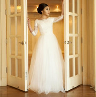 Wholesale Mature Corset - Simple Wedding Dresses Modest 2017 3 4 Sleeves Corset Back Beaded Lace Tulle Bridal Gowns Mature Bride Informal Long Floor Length Reception