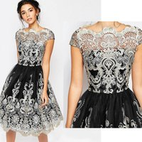 Wholesale Ladies Lace Embroidery Dress - Hot New Women Fashion Maxi Dress Vintage Lace Embroidery Dress Female Mid-Calf O-Neck Vestidos Evening Party Dresses Lady Ball Gown Dresses