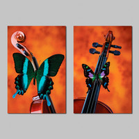 2 Pcs / Set No Encadrement Moderne Nature morte Animaux Butterfly Violon Décoration Wall Art Pictures Toile Peintures pour salon Décoration intérieure