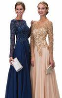 beste lange ärmel abendkleider großhandel-Am besten Handgemachte eine Linie Juwel-lange Hülsen-Chiffon- Abend-Kleider Schlüsselloch-rückseitige lange Abschlussball-Kleider mit Kristall bördelten 2017