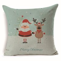 Wholesale Tree Cushion Covers - Christmas Pillow Case Printed Linen Home Decor Gift Decoration Throw Sofa Ornament Cushion Cover Pillowcase Tree Decorative Eve Cartoon