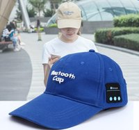 Wholesale Cell Phone Ear Caps - Wireless Bluetooth Headphone Sports Baseball Cap pure cotton Canvas Sun Hat Music Headset with Mic Speaker for Smart Phone computer