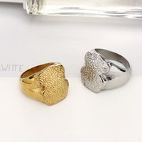 Wholesale Stainless Rings Engraved - Stainless steel bears ring for women excellet quality gold plated special Engrave rough design Rings four sizes brand jewelry oso Anillos