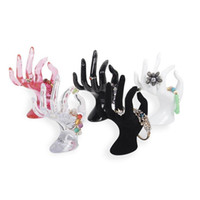 "Wholesale Wholesale Hand Mannequins - 6.7"" Tall Female Mannequin Free Standing Hand Manekin Ring Bracelet Necklace Jewelry Display Stand Holder Black Velvet OK Finger ZA2938"