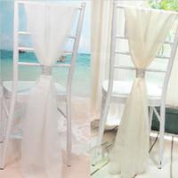 plastik sandalye sash tokaları toptan satış-Wholesale White Slub Chair Sashes with Rows Diamond Chiffon Delicate Wedding Party Banquet Decorations Chair Covers Accessories