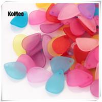 ingrosso perline opache-Acrilico lascia perline perline petali all'ingrosso 500pcs / lot 12 * 17mm casuale misto risultati dei monili colorati perline distanziatore gioielli smerigliato accessorio