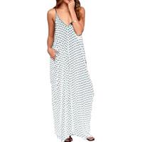 seksi kadın s plaj kıyafeti elbisesi toptan satış-Ücretsiz Kargo Yaz Elbiseler Moda Kadınlar Polka Dot Casual Gevşek Uzun Maxi Elbise Seksi Beachwear Kolsuz Backless Vestidos Artı Boyutu
