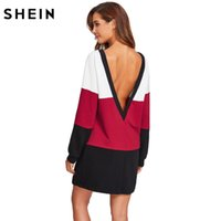 SHEIN Deep V Back Coulisse orlo tagliato e cucire abito multicolor manica lunga donna abiti color block t-shirt dress q1113