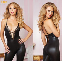 Wholesale Golden Lingerie - Women Fashion Lingerie 2017 Unitards DS Performance Clubwear Sexy Sleeveless Golden Patent PU Leather Lace Dancing Tight Bodycon Jumpsuit