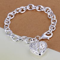 Wholesale Thick Bangle Bracelets - H269 XMAS Wholesale fine 925 sterling silver bracelet bangle jewelry,hot new 925 silver jewelry Heart in Heart thick chain link bracelet