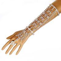 Wholesale Statement Celebrity - Women Rhinestone Slave Ring Statement Fashion Bracelet Hand Chains Cuff Wedding Bridal Celebrity Trendy Belly Dancer Jewelry