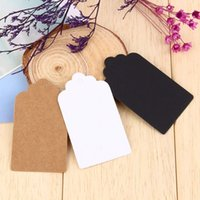 Wholesale Blank Hanging Gift Tags - 100pcs bag Kraft Paper Tags Head Label Luggage Wedding Party Note DIY Blank Price Hang tag Kraft Gift Hang Tag