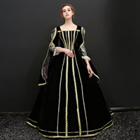 Wholesale cinderella costume for women - High Quality 2017 Black and Gold Mesh Square Collar Cinderella Long Dress French court costume For Women