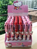 Wholesale Colouring Pens - Wholesale Hello Kitty 6 mulit color Ballpoint Medium Pens Stationery school Various Colour