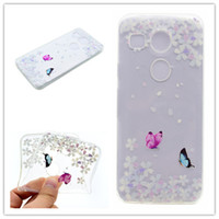 Wholesale Nexus Butterfly - Transparent TPU Cover For LG NEXUS 5X Case Colour decoration Tower bike Butterfly Girl Feather Design Mobile Phone Case
