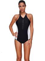 Wholesale Ma Silk - One Piece Swimsuit, Graceful Round Neck One Piece Swimsuit Zipper Low Waist Bathing Suit Women Summer Backless Bodysuits Padding Swimwear Ma