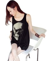 Wholesale Skull Printed Shirt Girl - Wholesale- Hot Fashion Women Gothic Style Individual Punk Skull Printing Asymmetrical Hem Hollow Back Bottom Girl Shirt Tops Tee Shirts