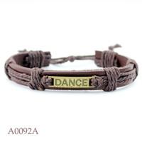 Wholesale wholesale dance bracelets - DANCE CHARM Adjustable Leather Cuff Bracelets Gifts for Men & Women Friendship Bangle Punk Casual Wristband Jewelry