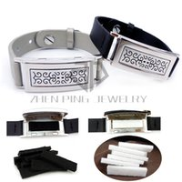 Wholesale Stainless Steel Bracelet Bands - Rectangle 50*17mm Rectangle with Silver and Black Leather Band Stainless Steel Aromatherapy   Essential Oils Diffuser Locket Bracelet