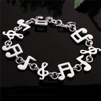 Wholesale Music Notes New Bracelet - Wholesale-New Womes 925 Charm Music note Chain Bracelet Bangle Wholesale