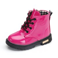 bota moda crianças venda por atacado-Crianças Inverno Sapatos PU impermeável bebê Matin Botas Moda versão coreana crianças Botas C2927-1