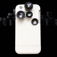 weitwinkel-objektiv-kit großhandel-3 Kameras Dual Phone Lens Weitwinkel Zoom Teleskop Makro Fisheye Kamera Mobile Lens Kit mit Case für iPhone 6 6s plus