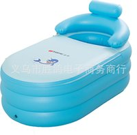 Wholesale Inflatable Child Bathtub - Wholesale- wholesale adult children keep warm Portable Inflatable bath tub folding Thickening family Bathtub 142x84x64CM