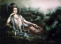 pintura a óleo flor de lótus venda por atacado-Kwan-yin Avalokitesvara com pote de jade flores de lótus, retratos pintados à mão pintura a óleo da arte na lona, multi tamanhos disponíveis DH016