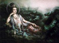 pintando kwan yin al por mayor-Kwan-yin Avalokitesvara con flores de loto de macetas de jade, retratos pintados a mano Arte Pintura al óleo sobre lienzo, tamaños múltiples disponibles DH016