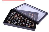 ingrosso scatola di visualizzazione anello nero in velluto-100 Slot Jewelry Display Box di alta qualità con un coperchio nero Velluto Orecchino Stud Bangle Ring Storage Case Vendita calda 5sr J R
