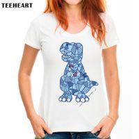 Wholesale Womens Cheap Printed T Shirts - Womens Clothing Tees Cheap Women's Patchwork Dinosaur Print T-Shirt Women Summer Modal Animal T shirt Hipster Tees white