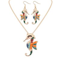 Wholesale Ear Cuffs Horse - Enamel Sea Horse Necklace Earrings Set Silver Gold Horse Pendant Ear cuff Maxi Enamel Jewelry For Women Gift 161913