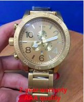 Wholesale watch water proof - NX Mens 51-30 CHRONOGRAPH A083-502 A083502 all Gold Stainless-Steel Quartz Watch 51mm water proof Gold Dial Watch + original box