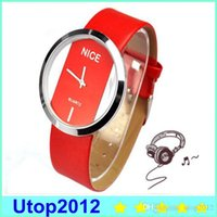 Wholesale Transparent Glass Wrist Watch - 10% Hot selling Fashion Casual Women PU Leather Wristwatch Transparent Dial Lady Wrist Watch Stainless Steal+ GLASS - utop2012