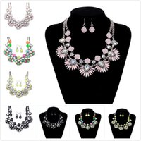 Wholesale Pink Crystal Bib - Colorful Glass Crystal Flower Beaded Festoon Lavalier Bib Necklace Earrings Set