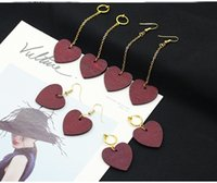 Wholesale red wooden clips resale online - New Korean wooden Heart with lovers dangling earrings women wood Wine red Hearts clip on earrings For ladies Fashion sexy Jewelry
