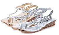 Wholesale roman wedge sandals fashion - Women Summer 2017 Sandals Bling Beading Plaftorm Wedges Shoes Woman Golden Slid Slip-on Roman Flip Flops Size 35-39 XWZ095