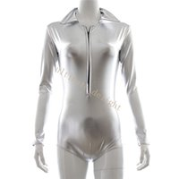 Wholesale Tight Leather Collars - Silver Patent Leather Long Sleeves Tight Fit Jumpsuit With Collar Women Flirty Sexy Cloth