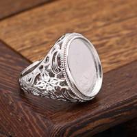 925 antiker silberner verlobungsring großhandel-Jugendstil 14x19mm Oval Cabochon Verlobung Hochzeit Semi Mount Ring Silber 925 Art Deco Vintage Antik Ring Einstellung