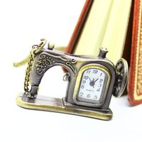 Wholesale Sewing Machine Watch - Wholesale-Antique Bronze Sewing Machine Pocket Watch Necklace Pedant Xmas Gift P515