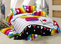 Wholesale Boys Twin Size Comforter - Wholesale-100 cotton KIDS bedding set king size mickey mouse full comforter Cover BOYS 3 4pcs duvet cover set bed sheets bed spreads