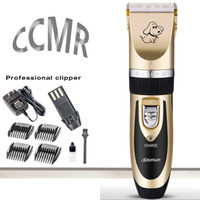 Wholesale Hair Cutting Blades - 2017 Hot sale professional luxury pet hair electric black and gold clipper for dog and cat cutting grooming tool trimmer free ship